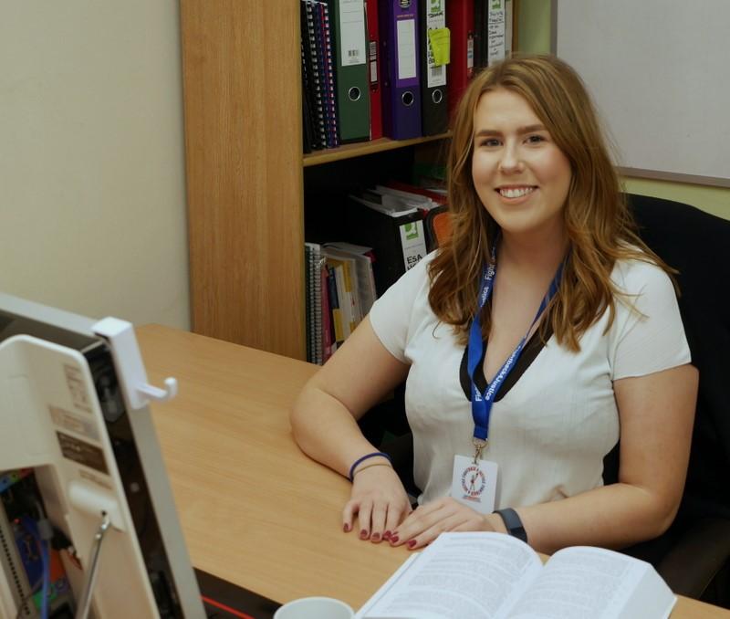 Hard at work! FB4J Team member, Katie