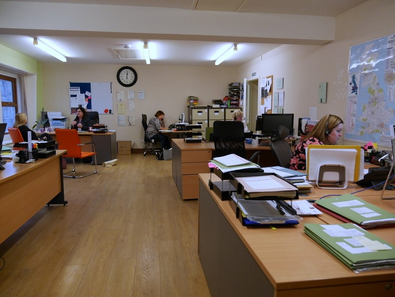 Action shot of the main office in Bury.