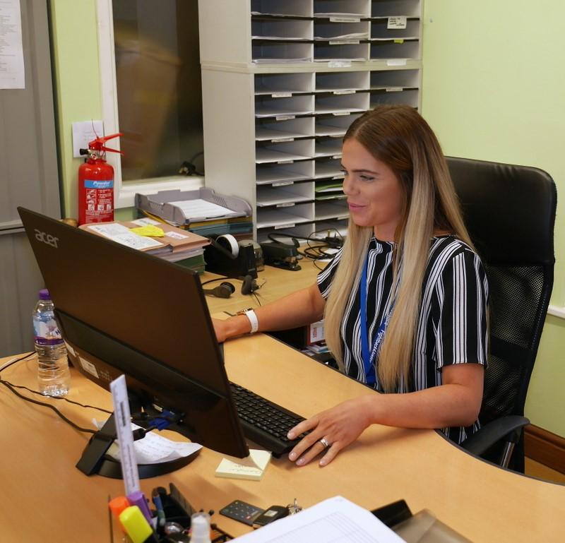Chloe at her workstation.