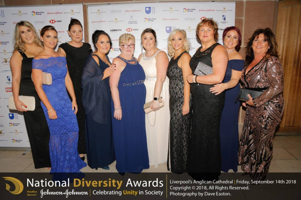 We just wanted to share the official National Diversity Awards photo from September awards ceremony where we were pleased to attend as finalists in the Disability Community Group from a total of 24,800 nominated persons, this is most of our wonderful office based Fightback team. In order we have Katie, Chloe, Danni, Mel, Sue, Amanda, Amy, Sarah, Hayley and Michelle (fightback founder)